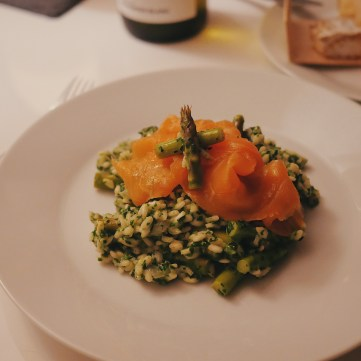Asparagus, Spinach and Mascarpone Risotto, Smoked Salmon
