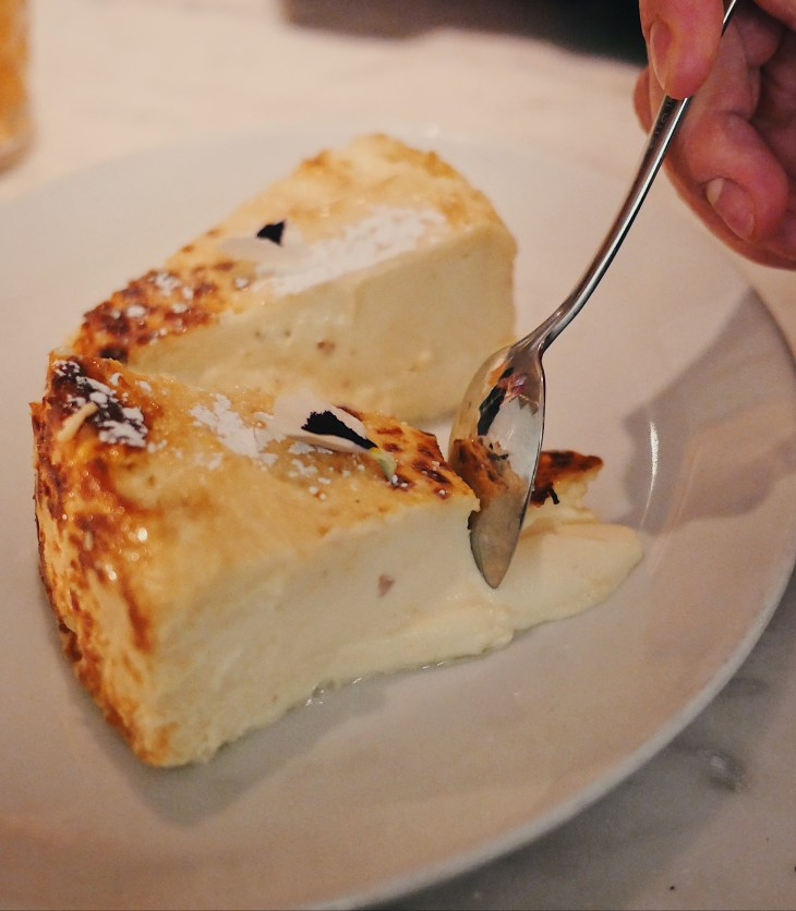Basque cheesecake at Lurra, a Spanish Basque restaurant London