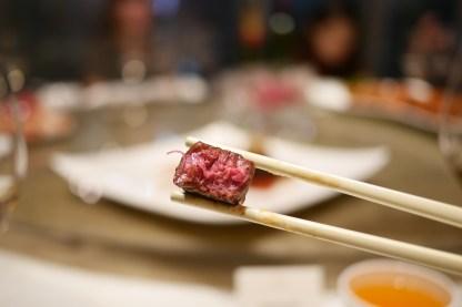 Medium rare sauteed beef