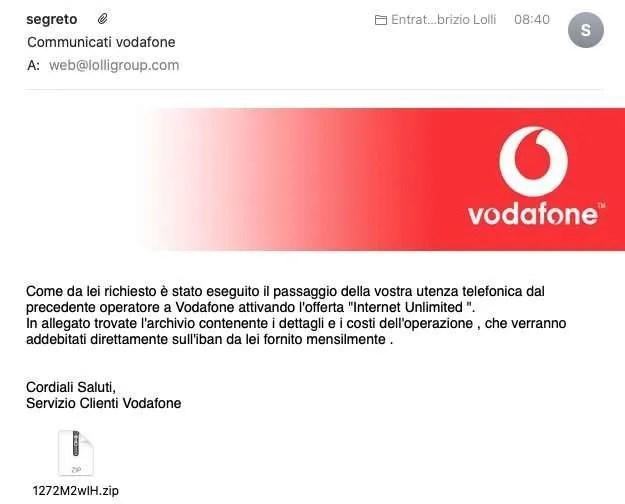 Vodafone truffa email phishing lolli group