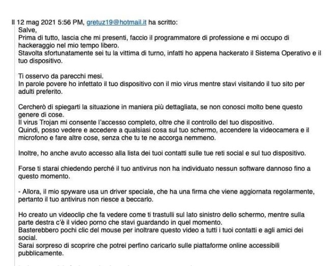 mail phishing truffa sex scam telegram
