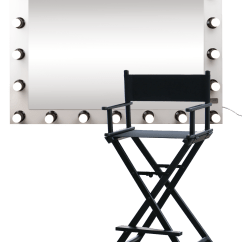 Personalized Makeup Artist Chair Acrylic Hanging Make Up And Mirror With Light Grand