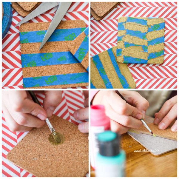 Cool tutorial to make painted cork coasters | #coasters #diy #silverandgold
