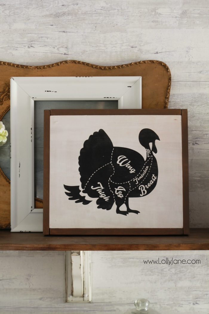 DIY turkey chart diagram sign. Cute kitchen decor! Fun and easy Thanksgiving sign, cute Thanksgiving home decor! Love this turkey decor!