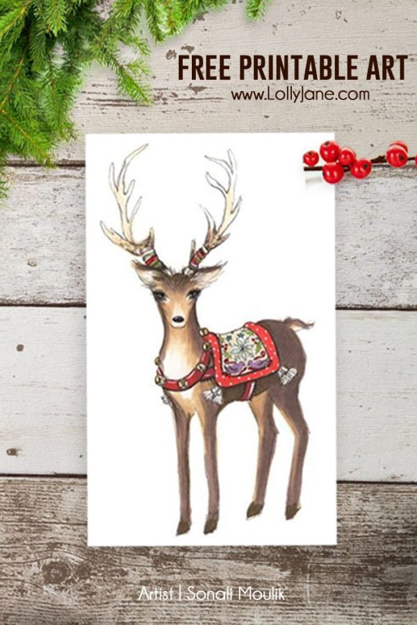 Christmas vignette with free printable Lolly Jane