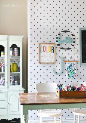 craft makeover wall peel stick walls fun craftroom using lollyjane brighten