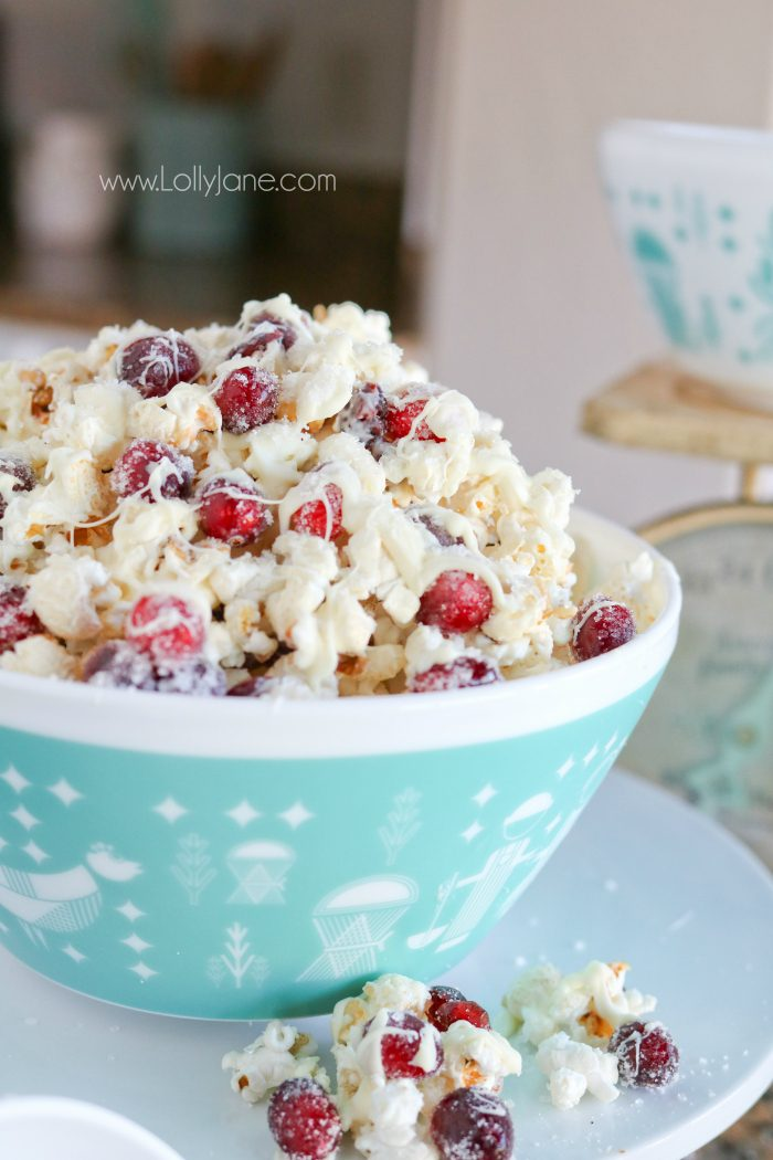 White Chocolate Cranberry Popcorn Recipe | LollyJane - Yummy White Chocolate Cranberry Popcorn recipe, so easy to make. We love this festive holiday dessert, mmm!