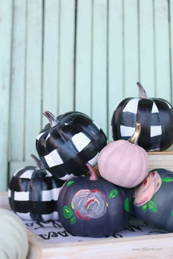 Easy DIY Buffalo Check + Floral Acrylic Painted Faux Pumpkins, so cute!