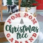 White Pom Pom Christmas Tree Garland Tutorial