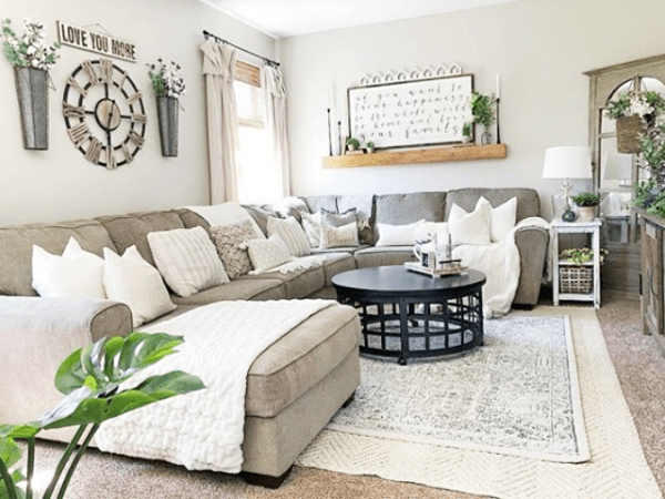 inexpensive rugs for living room furniture cabinets 13 farmhouse you can actually afford lolly jane layered rug ideas layering make a feel cozy and add depth