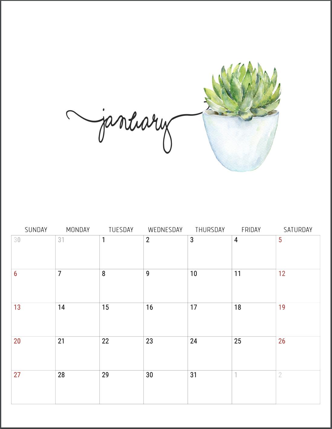 2019 free printable calendars - Lolly Jane