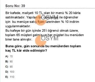 DGS 2020 Sayısal Soru - 39