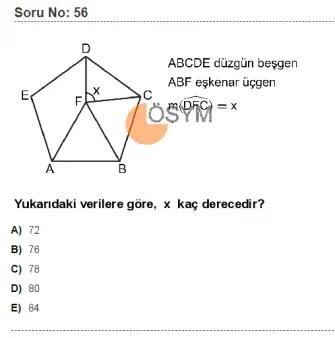 DGS 2020 Sayısal Soru - 56