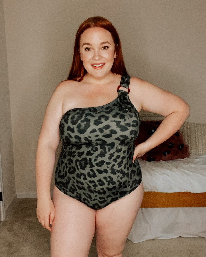 plus size green leopard one shoulder one piece swimsuit from kohls