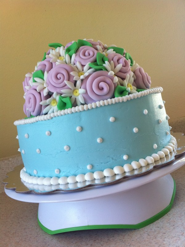Blue And Pink Antique Ribbon Rose Birthday Cake Lolo'