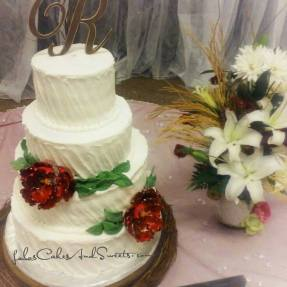 """""""Beauty"""" a simplistic rustic buttercream with burgundy peony flowers"""