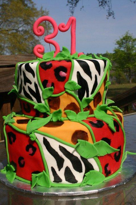 Wild Animal zebra giraffe and leopard print birthday cake  Lolos Cakes  Sweets