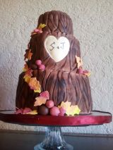 """""""Autumn"""" Tree stump wedding cake with heart and carved initials. Autumn leaves and acorn swag."""