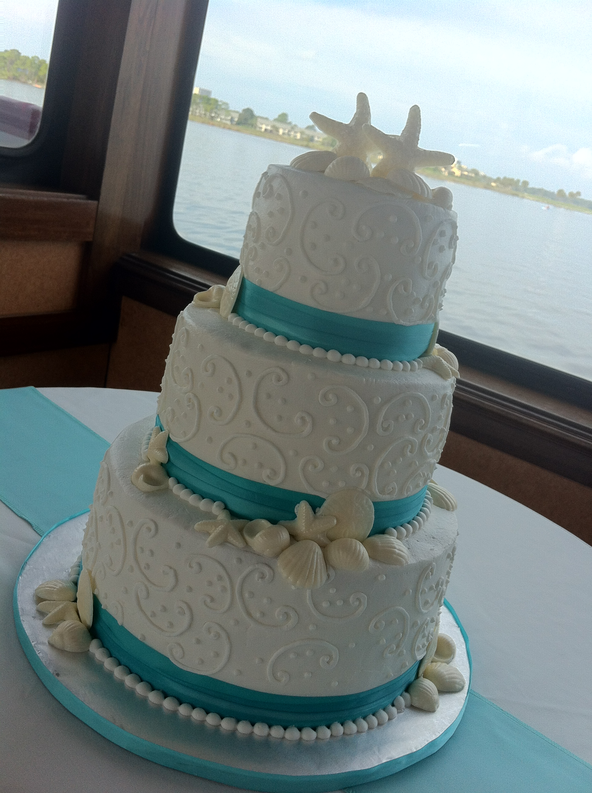 Jessica 3 Tier White Wedding Cake With Seashells Swirls