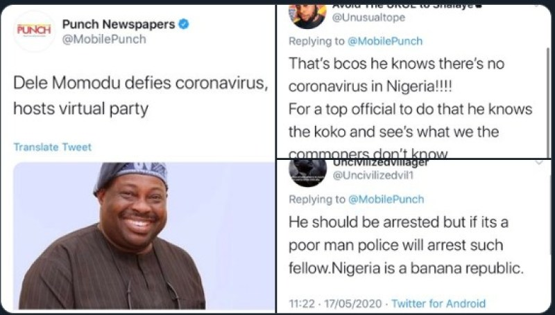 Dele Momodu and screenshot of comments on his 60th birthday