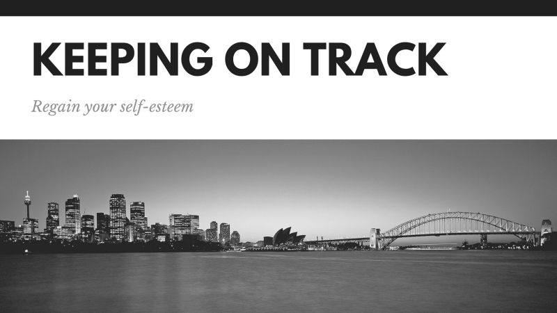 """""""Keeping on Track"""" written as the header of a black and white image"""
