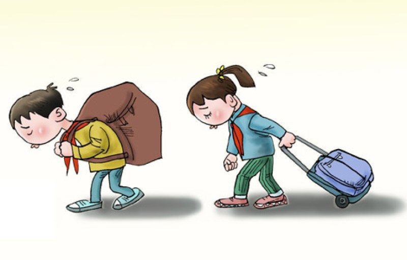 Cartoon of a man and woman dragging along an apparently heavy baggage