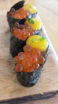 """Ikura Egg"": Ikura (salmon eggs) wrapped seaweed with one quail egg"