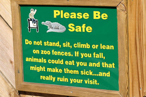 No only could feeding your kids to the animals make them sick, it could possibly ruin your visit. Unless you're trying to off your kid.