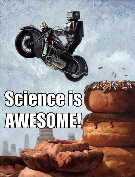 Robot Motorcycle Doughnut Awesome Science