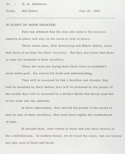 Failed Moon Landing Speech
