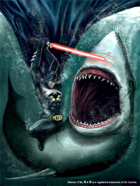 Batman With A Lightsaber Vs. Shark