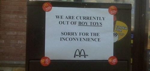 McDonalds Has No Boy Toys