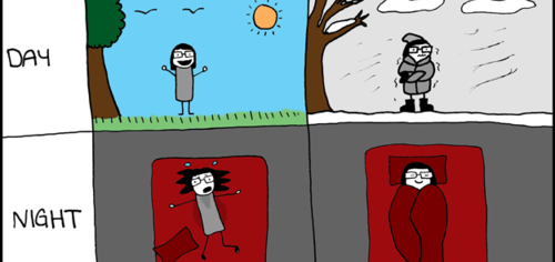 Sleeping in the summer vs winter.