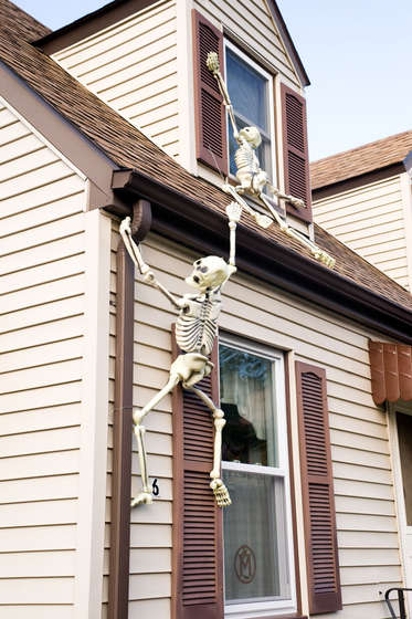 Create house climbing Halloween skeletons