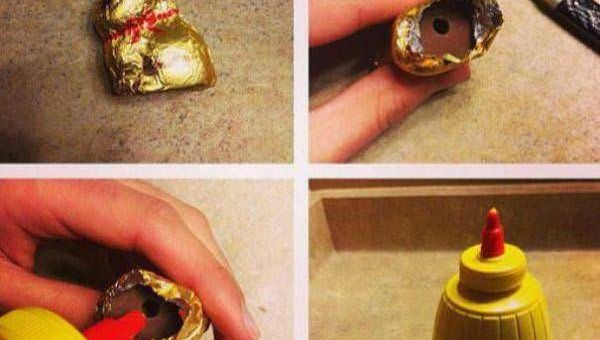 putting mustard in hollow easter bunny