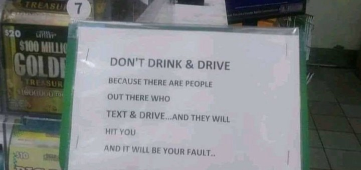 Drinking and Driving Sign.