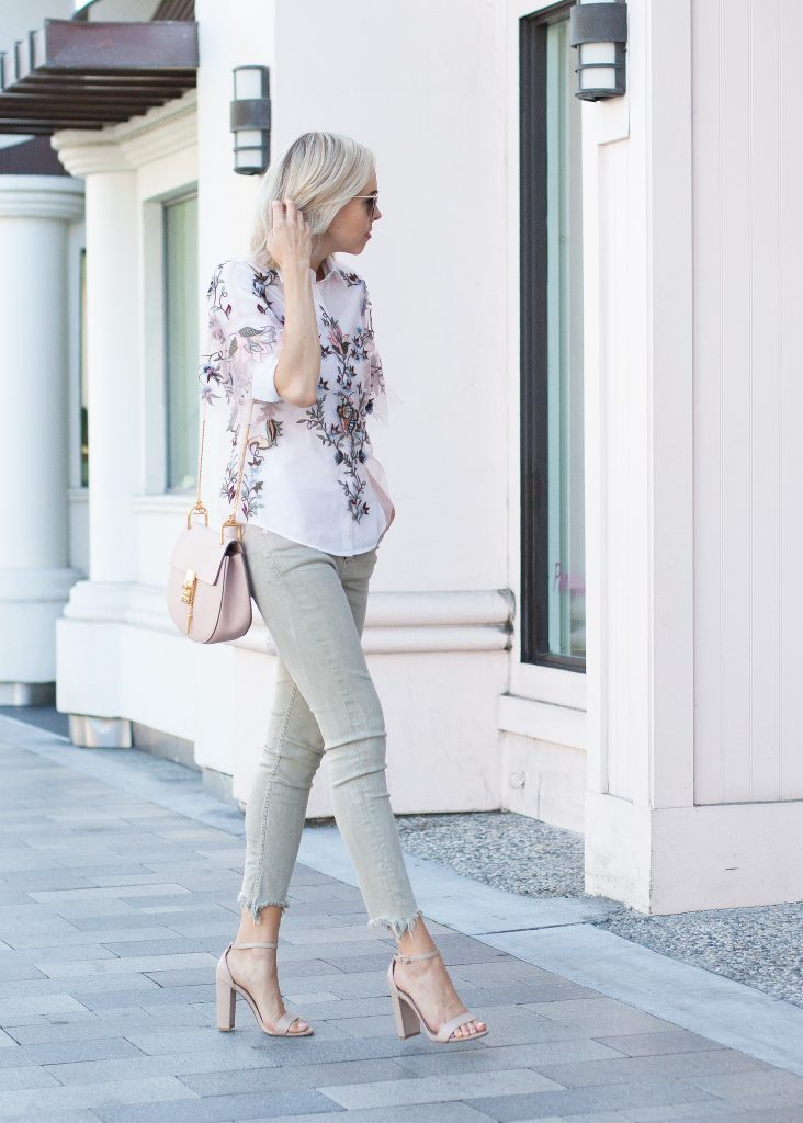 zara embroidered top, olive pants, chloe drew bag