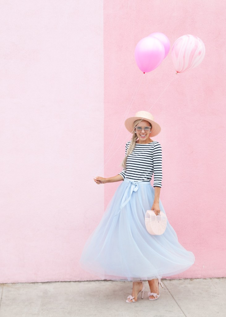 j crew tulle skirt striped shirt pigment san diego wall | Tulle Ball Skirt featured by top San Francisco fashion blog, Lombard and Fifth: image of a woman wearing a JCrew striped turtleneck, JCrew blue tulle ball skirt, H&M pink heels, pink Gaia bag and ASOS straw boater hat