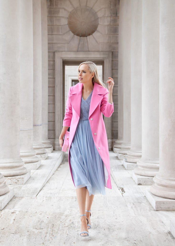 Layered Arabesque Dress Anthropologie, Miss Selfridge Tailored Jacket ASOS, New Look Embellished Barely There Heeled Sandal | Shades of Pastel featured by top San Francisco fashion blog, Lombard and Fifth: image of a blonde woman wearing a blue Anthropologie dress, ASOS Pink coat, ASOS silver sandals.