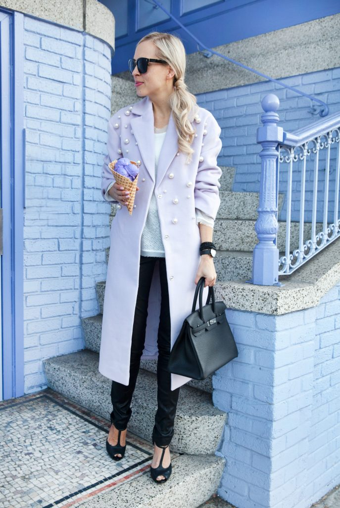 lavender statement coat with pearl embellishment from ASOS. Sharing the statement coats you need this winter.