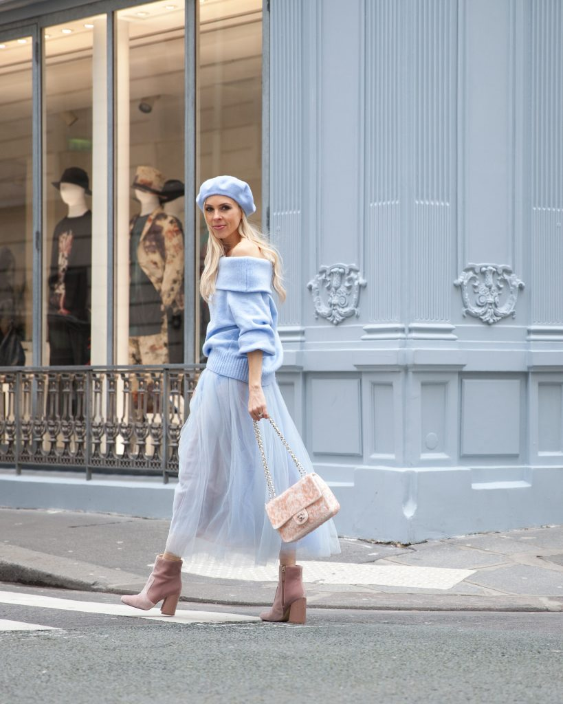 color trends for spring. pastels and dusty blues in paris