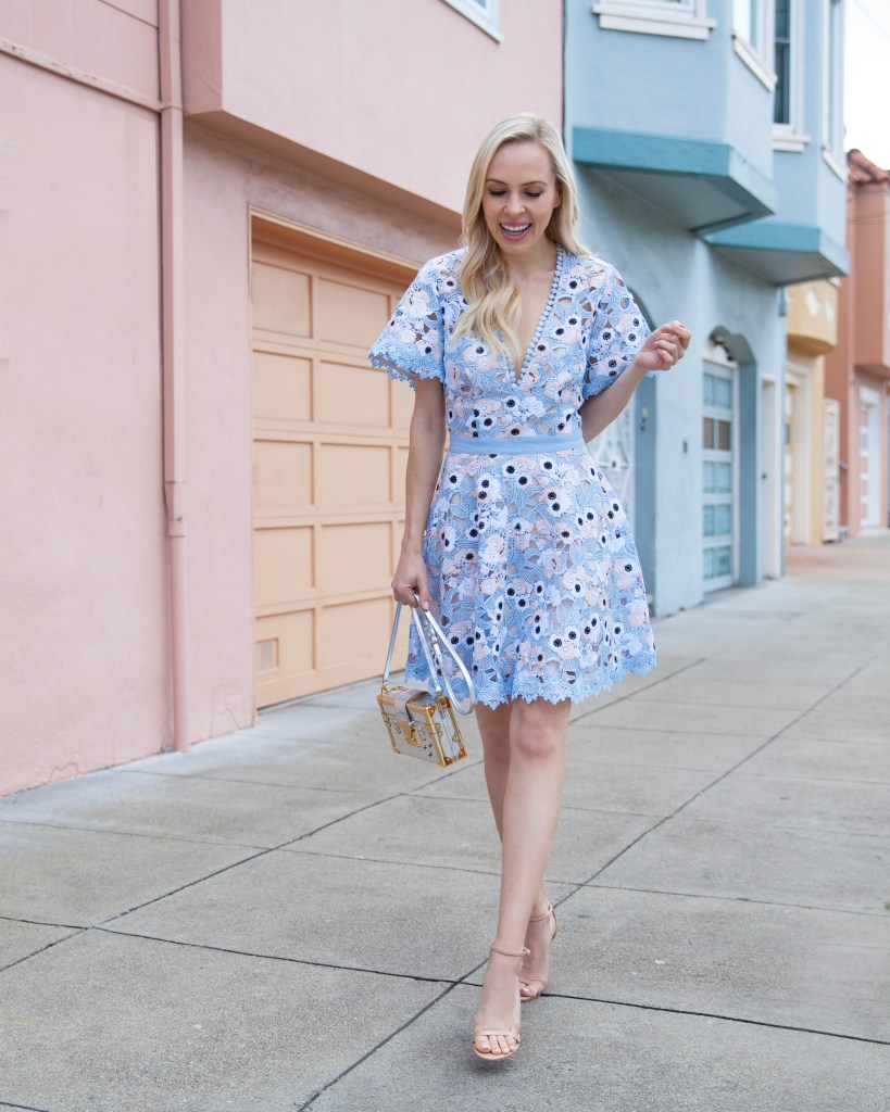 | Spring Wedding Guest Dresses featured by top San Francisco fashion blog, Lombard and Fifth: image of a blonde woman wearing a Nordstrom crochet dress, Stuart Weitzman sandals and Louis Vuitton petite malle