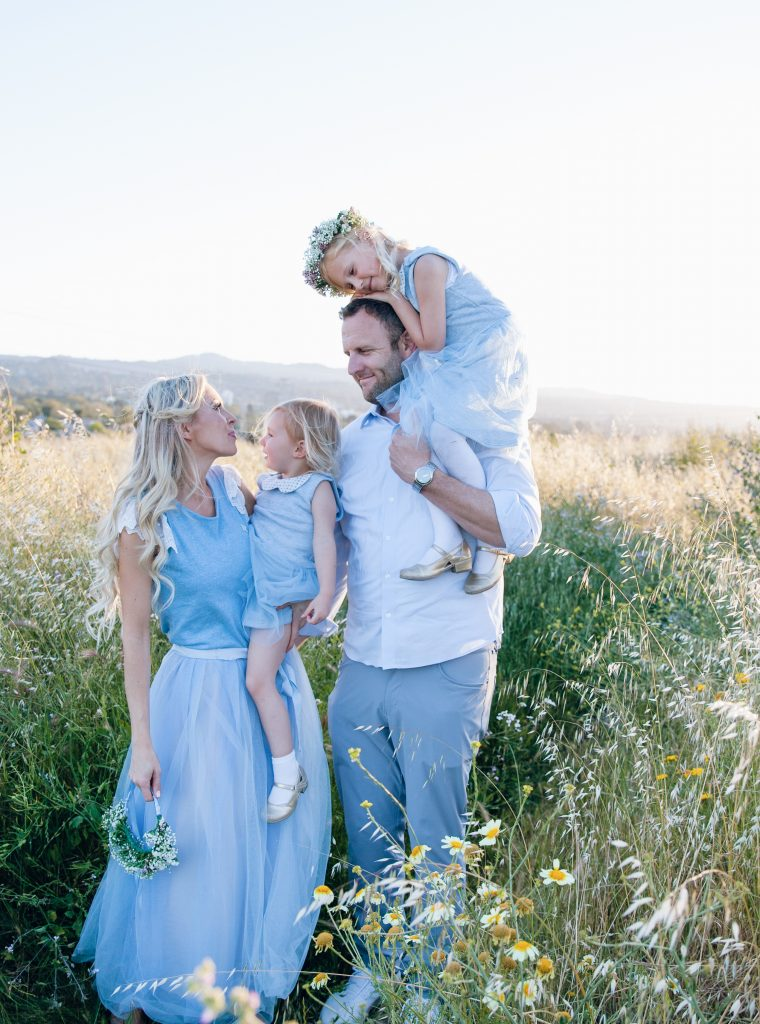 Little Blue Fairy dress, golden hour field with my daughters, j crew tulle skirt