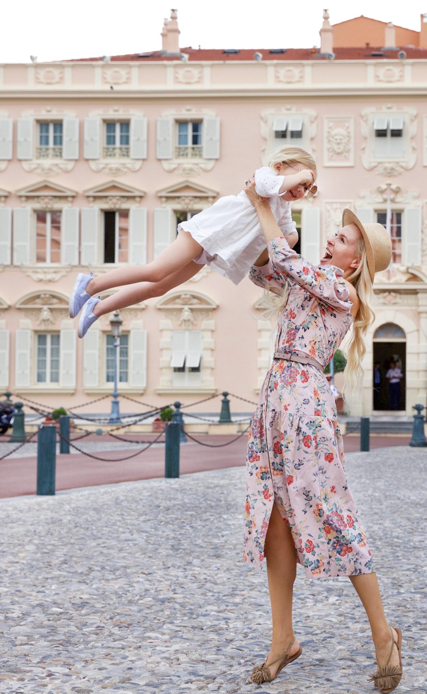 Rebecca Taylor Marlena Off the Shoulder Floral Midi Dress exploring Monaco this summer