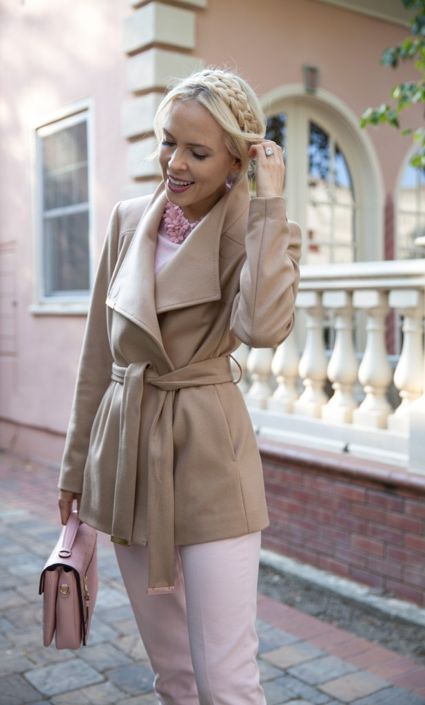 best fall style in Ted Baker coat and embellished top