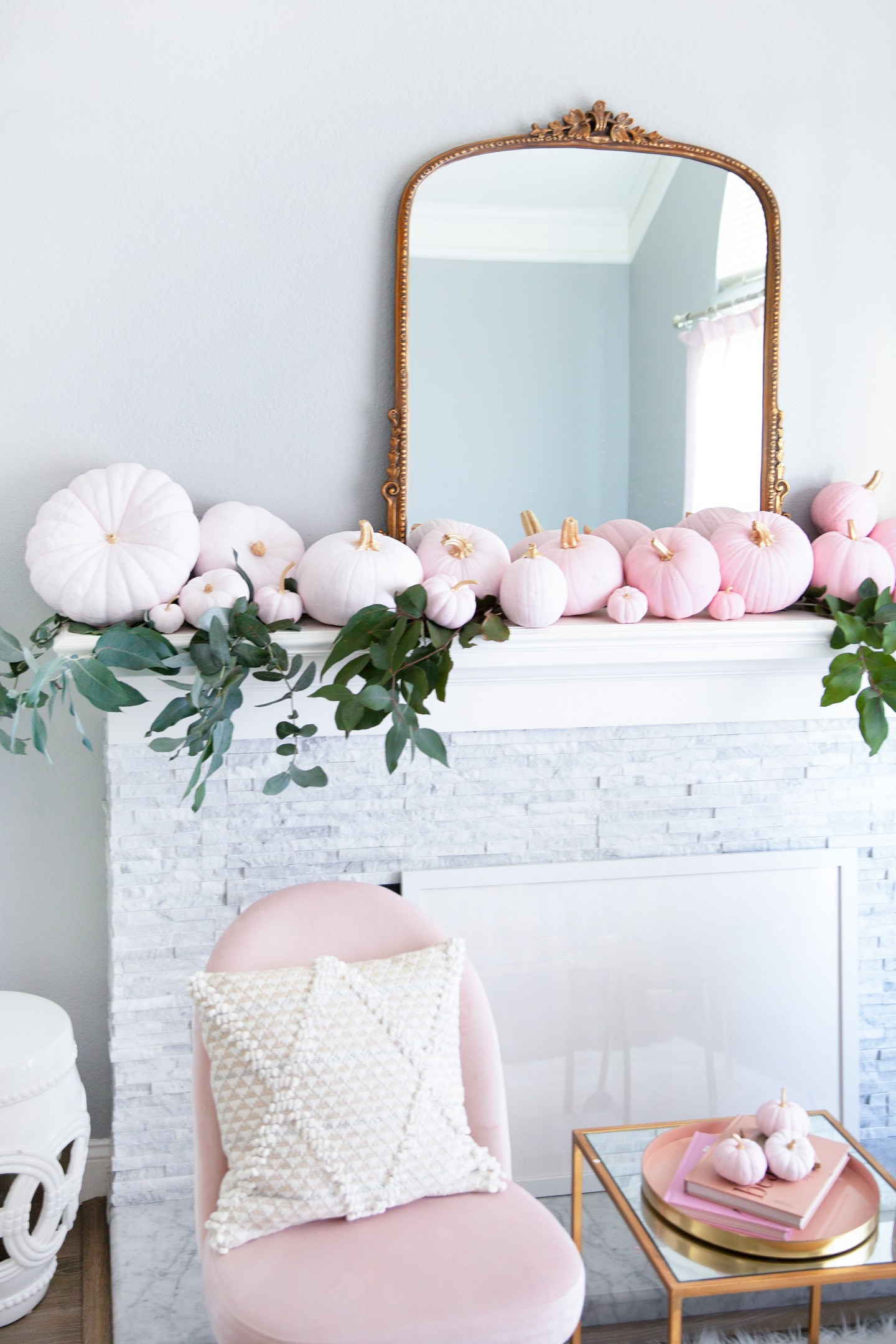 simple ombre pumpkin decor diy | 5 Step Super Easy Ombre Pink Pumpkin Decor Tutorial featured by top San Francisco lifestyle blog, Lombard & Fifth
