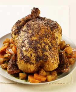 Caribbean Spiced Roast Chicken with Rum-Glazed Pineapple and Sweet Potatoes