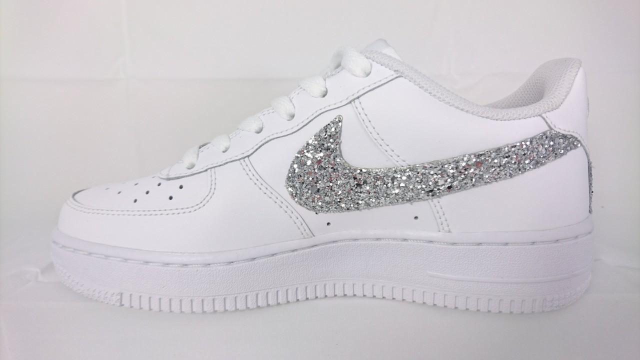 Nike Air Force basse Glitter Argento  LOMBARDI CALZATURE