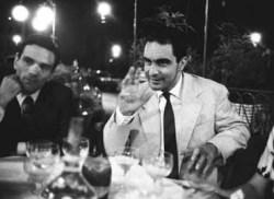 Roma, 1960 Pier Paolo Pasolini con Italo Calvino al Caffe' Rosati in piazza del Popolo