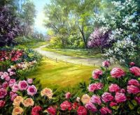 flower garden oil painting   http://lomets.com